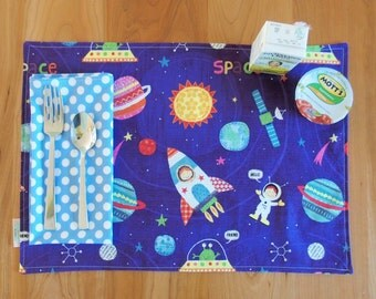 Boy's Space Placemat and Napkin Set with Planets, Space Ships, Rockets, and Aliens in Purple, Blue, Red, and Yellow and Polka Dots