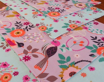 Reversible Bird and Flower Cloth Placemats in Lavender, Fucshia, Magenta,  Blue, Peach, Green, Bird Placemats, Blue Table Mats, Felicity