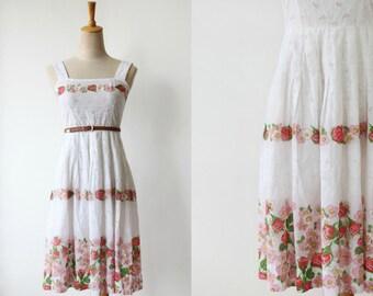 Vintage Spring Fling Eyelet Floral Vintage Cotton Sun Day Dress Size XS-S
