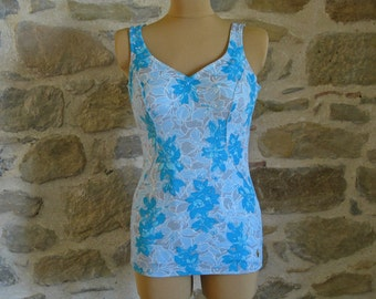 One piece swimsuit by Triumph, 1960s grey blue turquoise floral print swimwear, large size 46