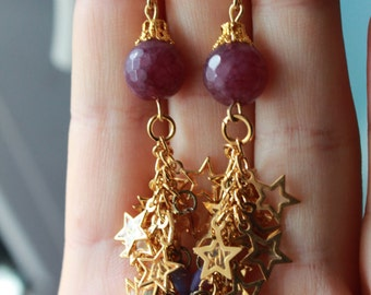 Mauve Purple Agate Gold Plated Stars Earrings Gift for Her Christmas