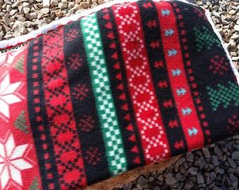 Christmas Crocheted Fleece Blanket