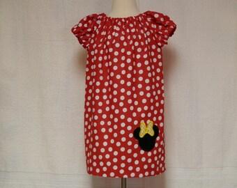 minnie mouse peasant dress,toddler dress,infant dress, birthday dress,disney dress,kids outfit, red polka dot dress