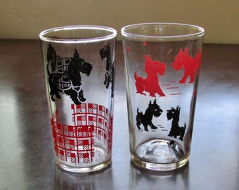 Two Scottie Dog Drinking Glasses Midcentury