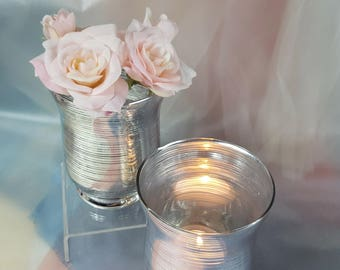 3 per/ Silver Glass Stripped Flower Vase, Votive Candle Holder, Wedding Candle Holders Centerpiece, Event, Contemporary with tea lights