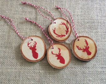 Reindeer Birch Wood Slice Ornaments - Set of 4 Christmas Wooden Ornaments - Antlers Christmas Decoration