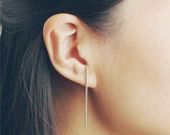 ON SALE Long skinny bar earrings - strip earrings - minimal earrings - sleek earrings