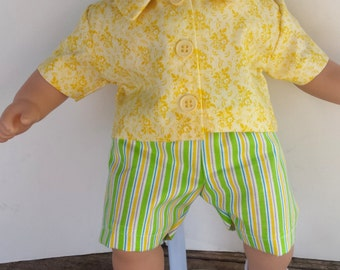 "American Girl 15 ""Bitty Twins Doll Clothing - Yellow and Green Striped shorts set for Bitty Twin Boy"