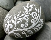 ivory branches / painted rocks / painted stones / rock art / white zen / paperweights / peace / art on stone / hand paintd stones / rocks