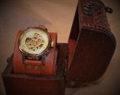 Steampunk cuff watch in presentation box