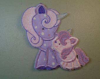 Mom and Me Unicorn and foal iron on or sew on applique patch