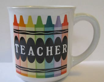 Vintage Teacher Mug with Crayons