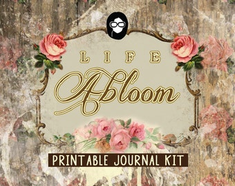 Rose Journaling Kit– Life Abloom - 25 Journal Refill Pages -  vintage junk journal, floral digital paper, diy journal, junk journal kit