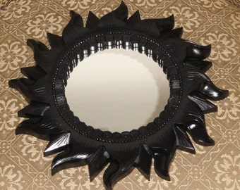 Vintage Black Homco Home Interiors Sun Shaped Wall Home Decor Mirror