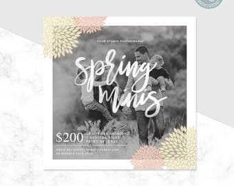 Mini Session Template - Spring Mini Session - Spring Minis - Floral Template - Photographer Mini Session - Photoshop Template - Photography