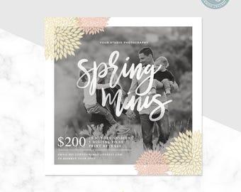 Mini Session Template - Spring Mini Session - Spring Minis - Floral Template - Photographer Mini Session - Photoshop Template - Photography