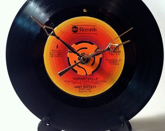 "Recycled JIMMY BUFFETT 7"" Record / Margaritaville / Record Clock"