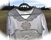 Winter White  Linen and Cotton Poets Tunic Dress Romantic Embroidered Vintage Details PLUS Size