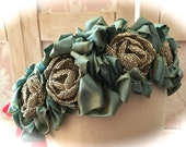 Romantic Aqua Mermaid Beaded Roses  Head Piece Photo Specialty Piece Bride Bridesmaid Shabby Chicness