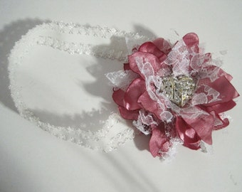 Baby Headband Rose Satin and Lace Flower Stretch Lace  Fits New born to 3 months Old Wedding  with Pearl and Rhinestone Accent  Custom Order