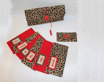 Cheetah Print and RED Cloth Budgeting Wallet and Envelopes with EMBROIDERED LABELS