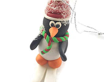 Polymer Clay Skiing Penguin Christmas Tree Decoration