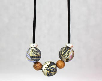 Paper covered wooden ball long necklace