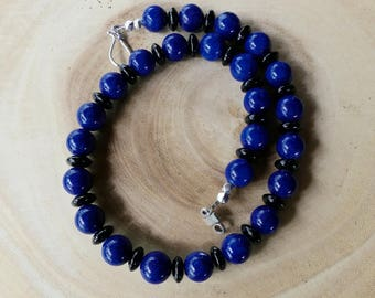 19 Inch Chunky Blue Kiwi Jasper and Black Onyx Necklace with Earrings