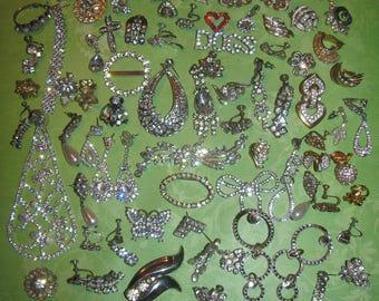 Vintage Mismatched Earrings Lot for Parts Crafts Rhinestone Destashed