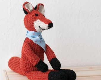 Knitted fox, wool fox, woodland animal, for kids, cute fox, knitted toy