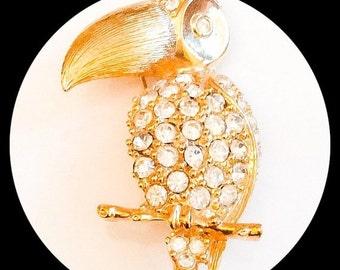 Rhinestone Parrot, Macau, Vintage Jewelry, CHRISTMAS SALE