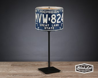Michigan License Plate Table Lamp, Round, Man Cave, Garage, Repurposed, Upcycle, Automotive Lamp, Hand Crafted Light, Navy & White
