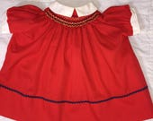 VTG 1970s Polly Flinders Red Dress Size 18 Months Polyester/Cotton