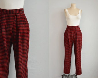 Vintage Wool Plaid Pants / 80s Benetton High Waist Wool Check Pleated Pants / Rockabilly Punk Red Black Plaid Made in Italy