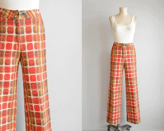 Vintage Plaid Pants / 60s High Waist Wool Plaid Mod Patterned Pants / Red Jacquard Plaid