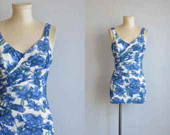 Vintage 1950s Swimsuit / 50s Catalina Blue and White Floral Print One Piece Pleated Wrap Bathing Swim Suit Playsuit