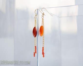 ANISE earrings, dark red dangle earrings, carnelian earrings, translucent red earrings, gold filled drop earrings, valentine's day earrings