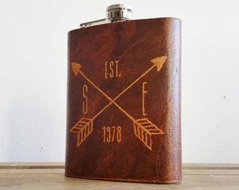 Personalised Leather Flask, Crossed arrow detail, Full piece, genuine leather,  personalised leather flask