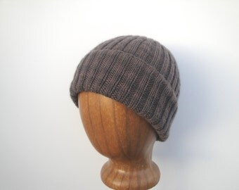 Brown Cashmere Hat, Ribbed Beanie, Mongolian Cashmere Hand Knit Hat, Gift for Him Her, Super Soft & Lightweight Cap
