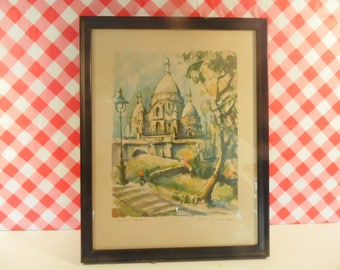 Signed Marius Girard Lithograph - La Sacre Coeur - Framed - Paris Print