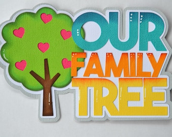 CraftECafe Paper Piecing Family Tree Title for Premade Scrapbook Pages Layout
