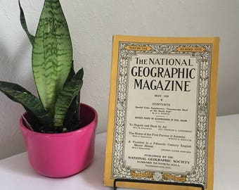 Vintage Magazine, May 1928,  National Geographic, free shipping US & Canada