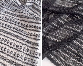 Sold by the Yard - Lace Knit Fabric - Black / Gray - Open knit
