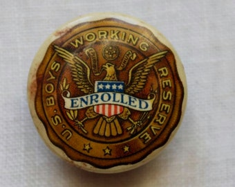 Vintage US Working Boys Reserve Stud Lapel Pin World War I Antique Celluloid