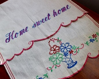 Vintage Splasher Splash Towel Linen Hand Embroidered Red Stripe Home Sweet Home Bright