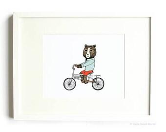 Bear on Bicycle 8x10 Jaunty Animals Print by Hello Small World