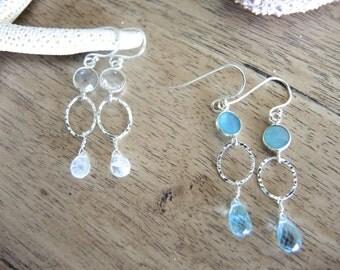 Blue Topaz Earrings, Moonstone Earrings, Sterling Silver Earrings, Gem Stone Earrings, Silver Round Bezel Earrings, Jewelry Gifts For Her