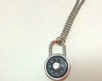 """Silver Combination Lock Necklace, New Vintage Avon """"Winning Combination"""" Necklace, Unworn, Whimsical Necklace, Teen Jewelry"""