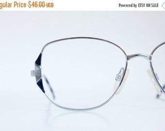 ON SALE Vintage 80's Royal Blue Silver Wire Eyeglasses Frames
