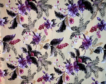 """TABLECLOTH ...Maui Potpourri Kula, Maui, Hawaii Ecru Yellowish w huge Purple flowers 64"""" x 50"""" Cotton"""